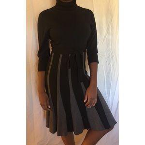 London Times Knit Turtleneck Dress with Sash
